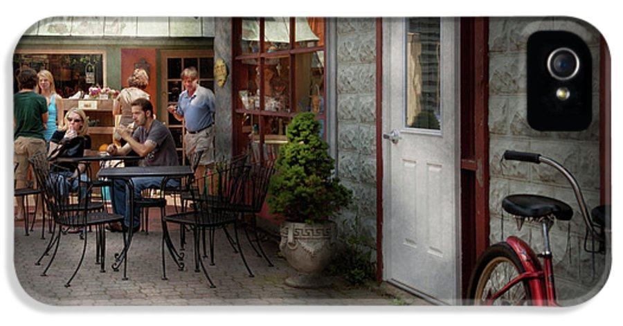 Hdr IPhone 5 Case featuring the photograph Storefront - Frenchtown Nj - At A Quaint Bistro by Mike Savad