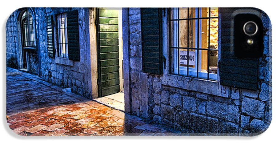 Cat IPhone 5 Case featuring the photograph Street Scene In Ancient Kotor Montenegro by David Smith