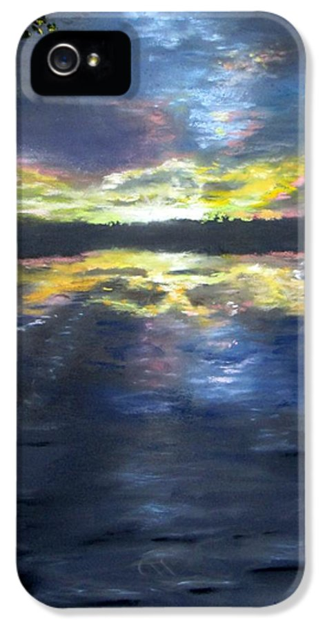 Sunset IPhone 5 Case featuring the painting Sunset Over Mystic Lakes by Jack Skinner