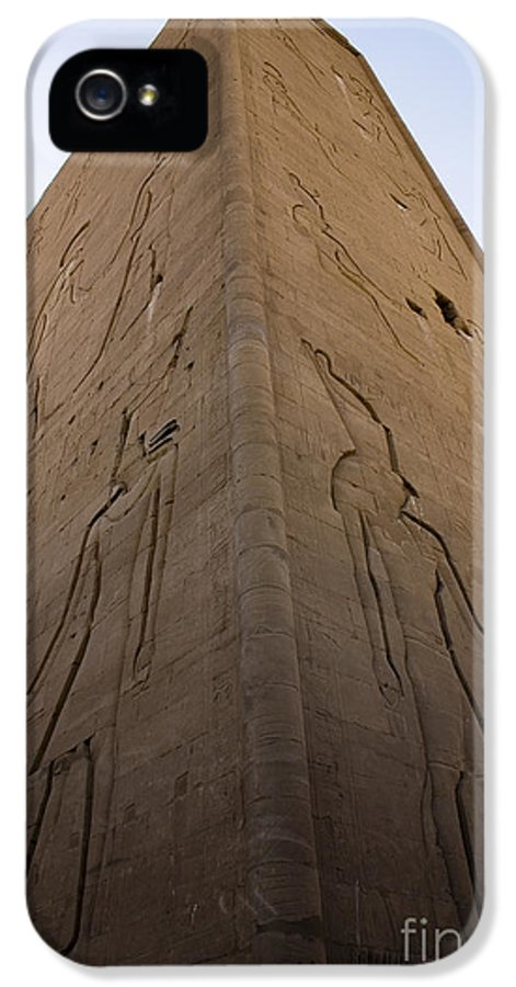 Africa IPhone 5 Case featuring the photograph Tall Wall At Edfu by Darcy Michaelchuk
