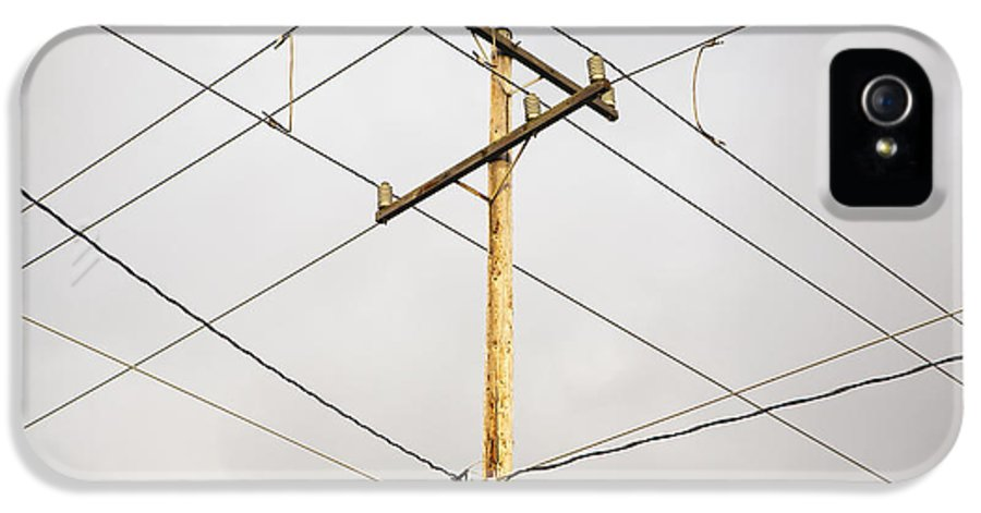 Business IPhone 5 Case featuring the photograph Telephone Pole And Electric Cables by Paul Edmondson