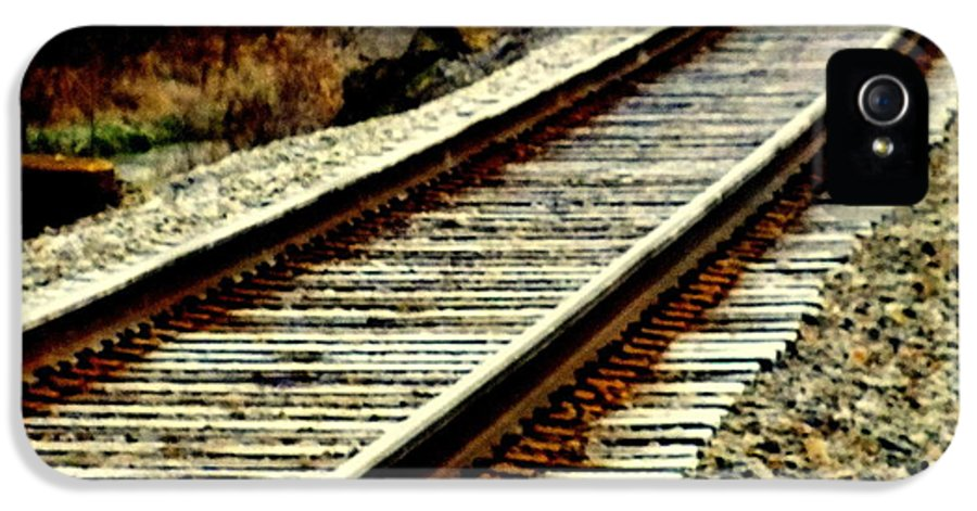 Railroad Tracks IPhone 5 Case featuring the photograph The Long Way Home by Karen Wiles