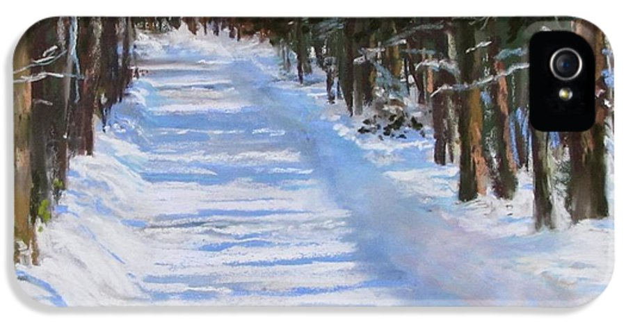 Snow IPhone 5 Case featuring the painting The Valley Road by Jack Skinner
