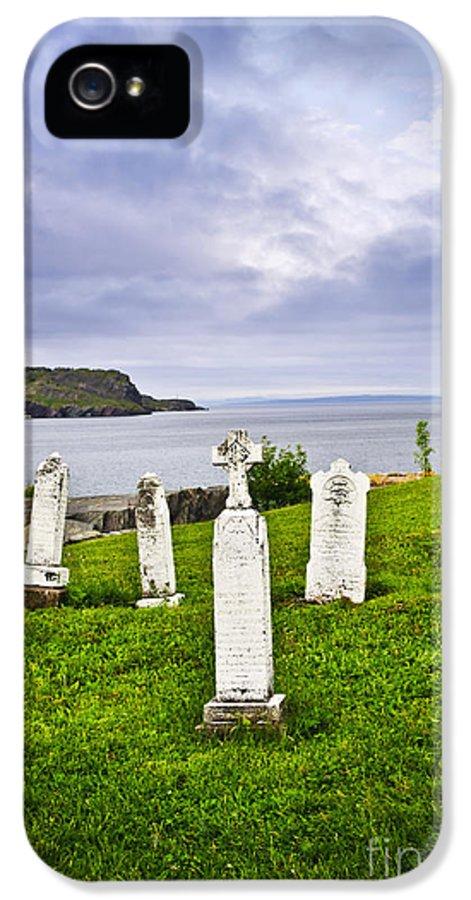 Graveyard IPhone 5 Case featuring the photograph Tombstones Near Atlantic Coast In Newfoundland by Elena Elisseeva
