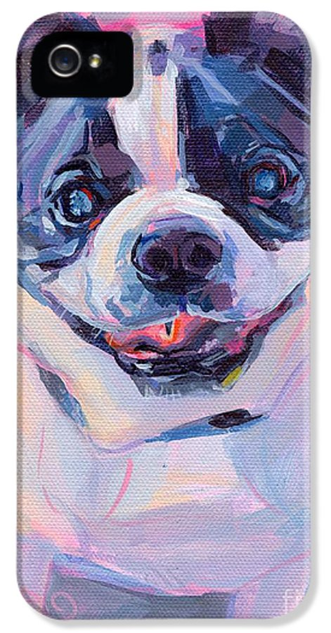Boston Terrier IPhone 5 Case featuring the painting Toothless by Kimberly Santini