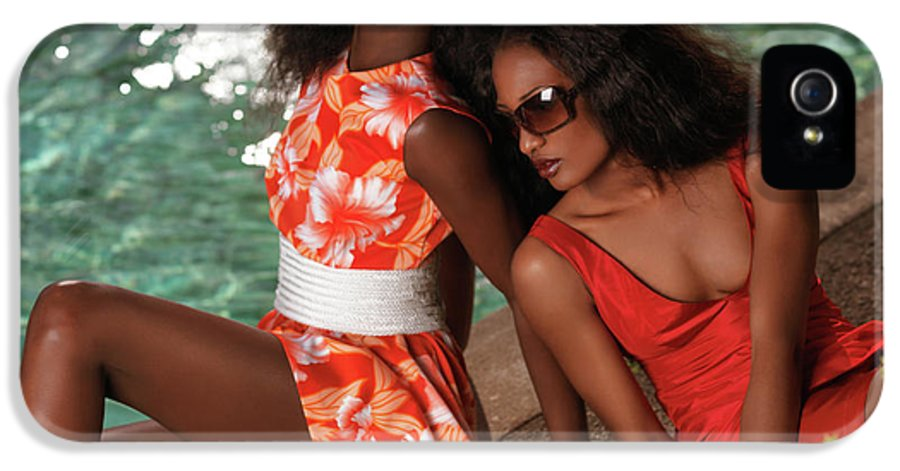 Fashion IPhone 5 Case featuring the photograph Two Beautiful Women In Dresses At The Pool by Oleksiy Maksymenko