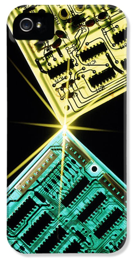 Circuit Board IPhone 5 Case featuring the photograph Two Circuit Boards Meeting At A Spot Of Light. by Tony Craddock