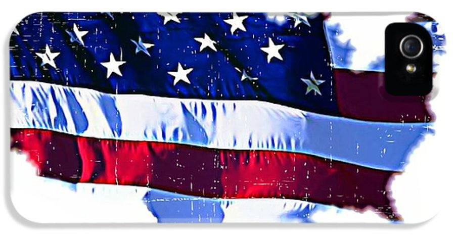 Flag IPhone 5 Case featuring the mixed media U. S. A. by ABA Studio Designs