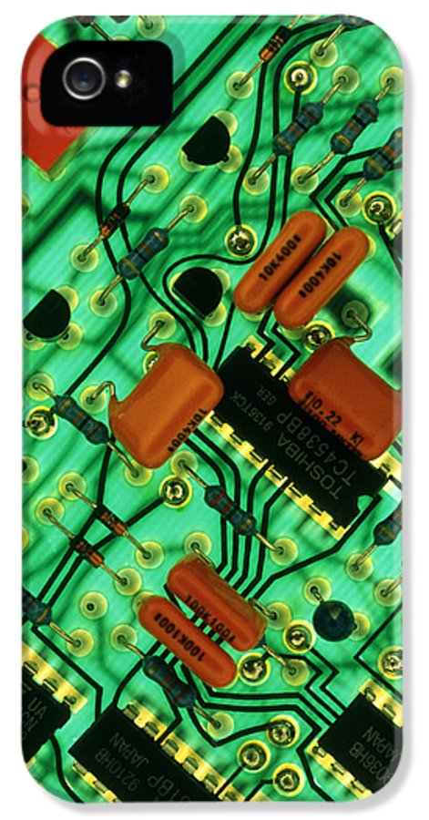 Circuit Board IPhone 5 Case featuring the photograph View Of A Circuit Board From An Alarm System by Chris Knapton