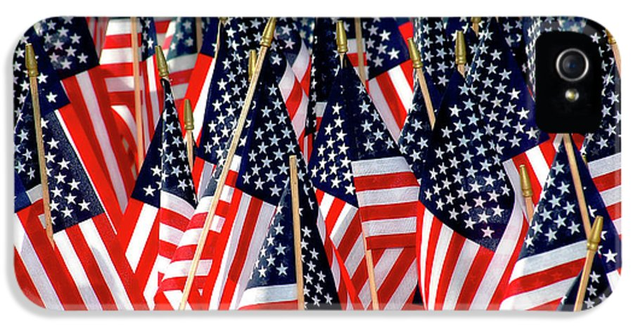 Flag IPhone 5 Case featuring the photograph Wall Of Us Flags by Carolyn Marshall