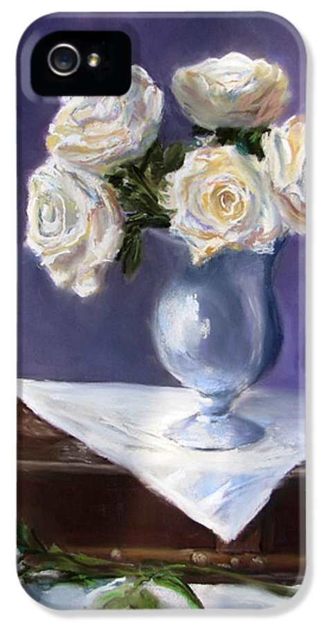 Flowers IPhone 5 Case featuring the painting White Roses In A Silver Vase by Jack Skinner