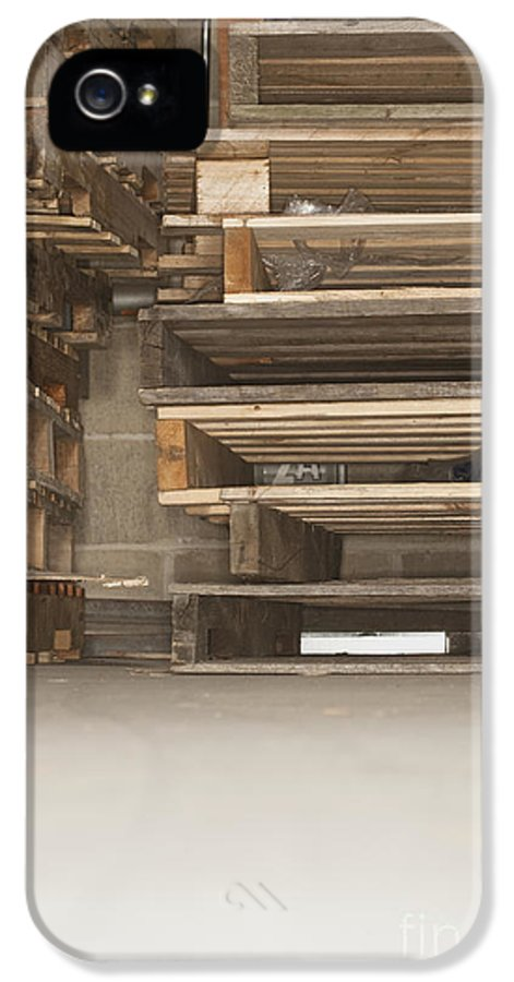 Business IPhone 5 Case featuring the photograph Wooden Pallets Stacked Up by Shannon Fagan