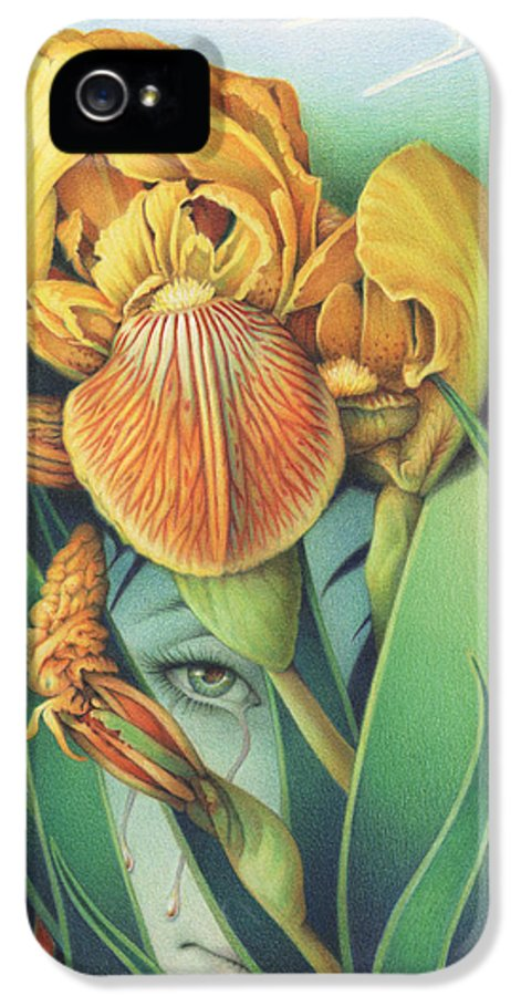 Flower IPhone 5 Case featuring the drawing Words Left Unspoken by Amy S Turner