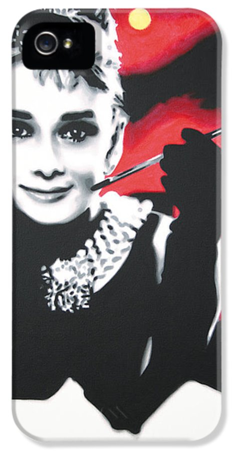 Audrey Hepburn IPhone 5 / 5s Case featuring the painting - Breakfast At Tiffannys - by Luis Ludzska