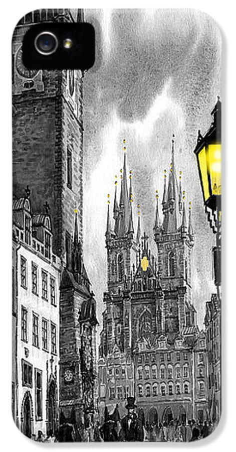 Geelee.watercolour Paper IPhone 5 Case featuring the painting Bw Prague Old Town Squere by Yuriy Shevchuk