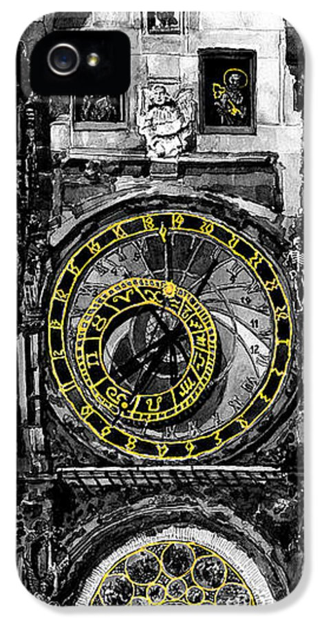 Geelee.watercolour Paper IPhone 5 Case featuring the painting Bw Prague The Horologue At Oldtownhall by Yuriy Shevchuk