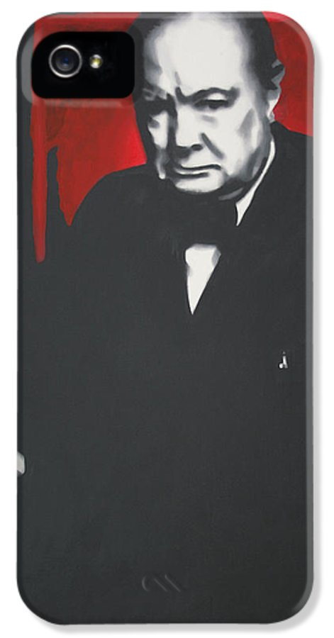 Ludzska IPhone 5 Case featuring the painting - Churchill - by Luis Ludzska