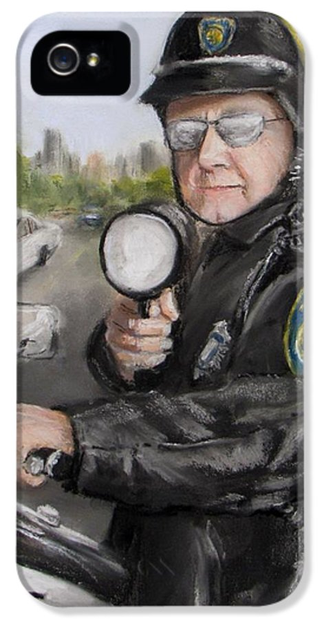 Police IPhone 5 Case featuring the painting Gotcha by Jack Skinner