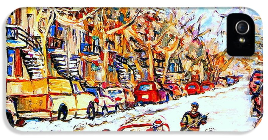 Hockey IPhone 5 Case featuring the painting Hockey Game On Colonial Street Near Roy Montreal City Scene by Carole Spandau