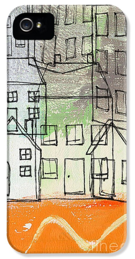 Houses IPhone 5 Case featuring the painting Houses By The River by Linda Woods