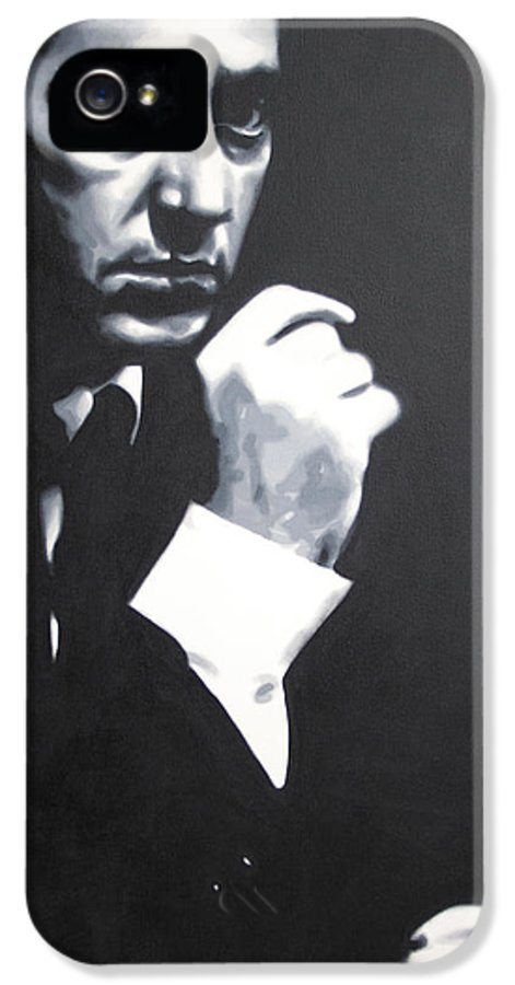 The Godfather IPhone 5 Case featuring the painting - The Godfather - by Luis Ludzska