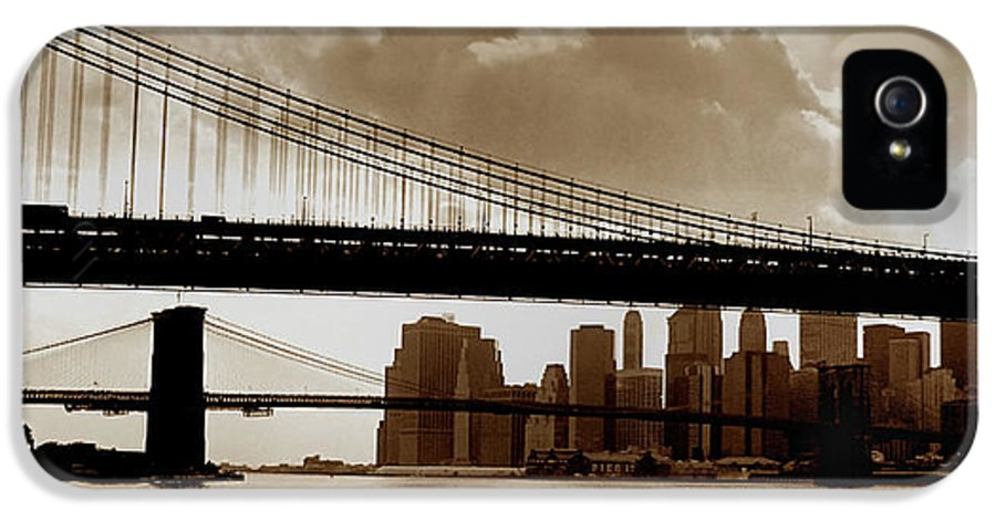 Brooklyn Bridge IPhone 5 Case featuring the photograph A Tale Of Two Bridges by Joann Vitali