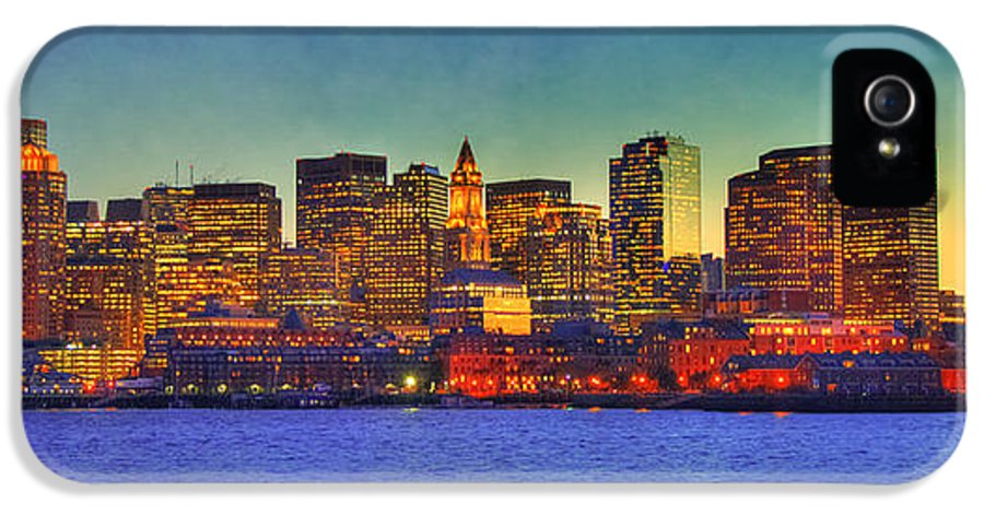 Boston IPhone 5 Case featuring the photograph Boston Skyline Sunset by Joann Vitali