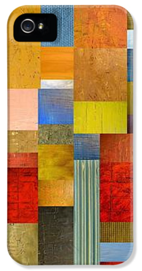 Skinny IPhone 5 / 5s Case featuring the painting Color Panels With Green Grass by Michelle Calkins