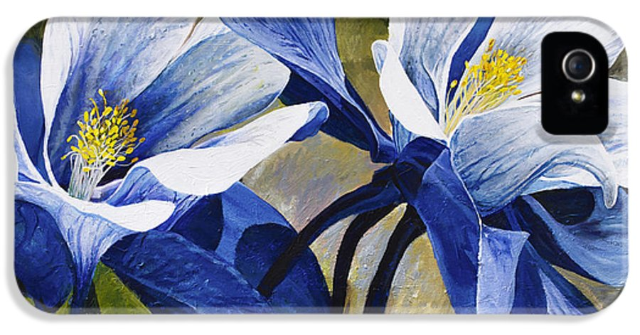 Flower IPhone 5 Case featuring the painting Colorado Columbines by Aaron Spong