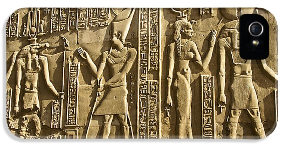 Egypt IPhone 5 Case featuring the photograph Egyptian Temple Art by Michele Burgess