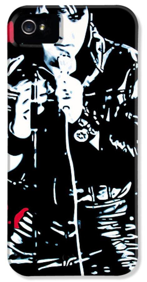 Elvis Presley IPhone 5 Case featuring the painting Elvis by Luis Ludzska