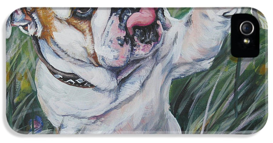 English Bulldog IPhone 5 Case featuring the painting English Bulldog by Lee Ann Shepard