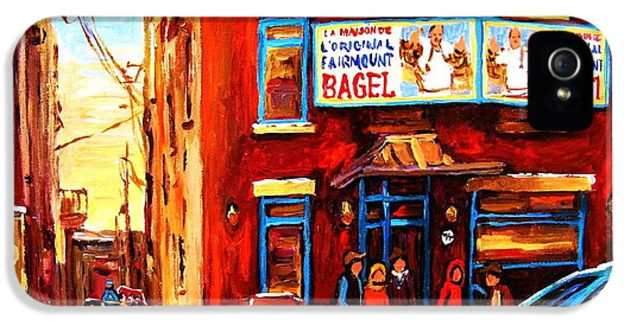Hockey IPhone 5 Case featuring the painting Fairmount Bagel In Winter by Carole Spandau