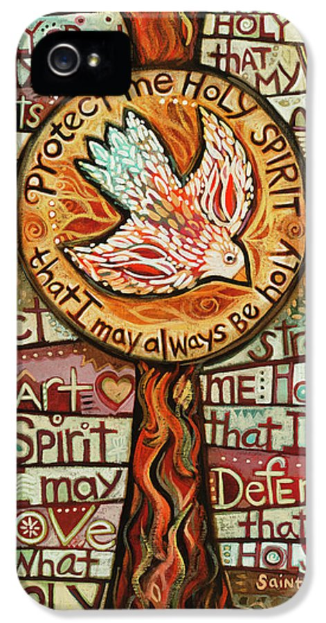 Jen Norton IPhone 5 Case featuring the painting Holy Spirit Prayer By St. Augustine by Jen Norton