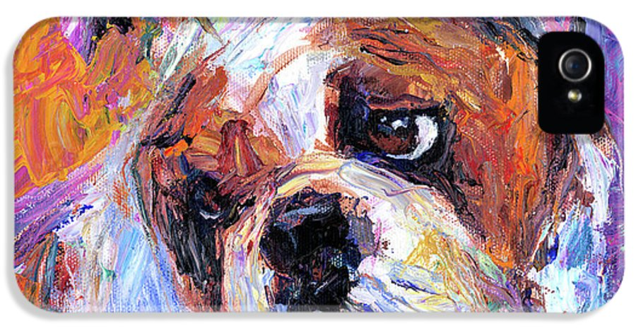 English Bulldog Painting IPhone 5 Case featuring the painting Impressionistic Bulldog Painting by Svetlana Novikova