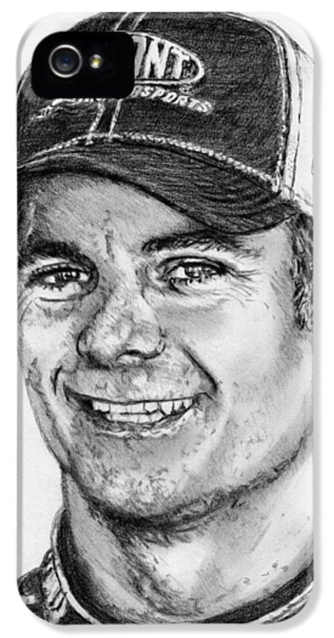 Jeff Gordon IPhone 5 Case featuring the drawing Jeff Gordon In 2010 by J McCombie