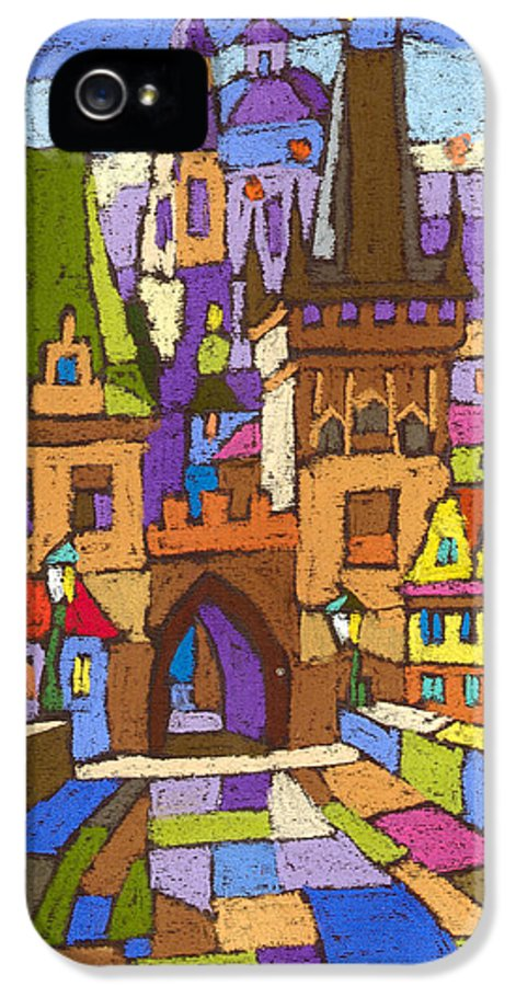 Pastel IPhone 5 Case featuring the painting Prague Charles Bridge 01 by Yuriy Shevchuk