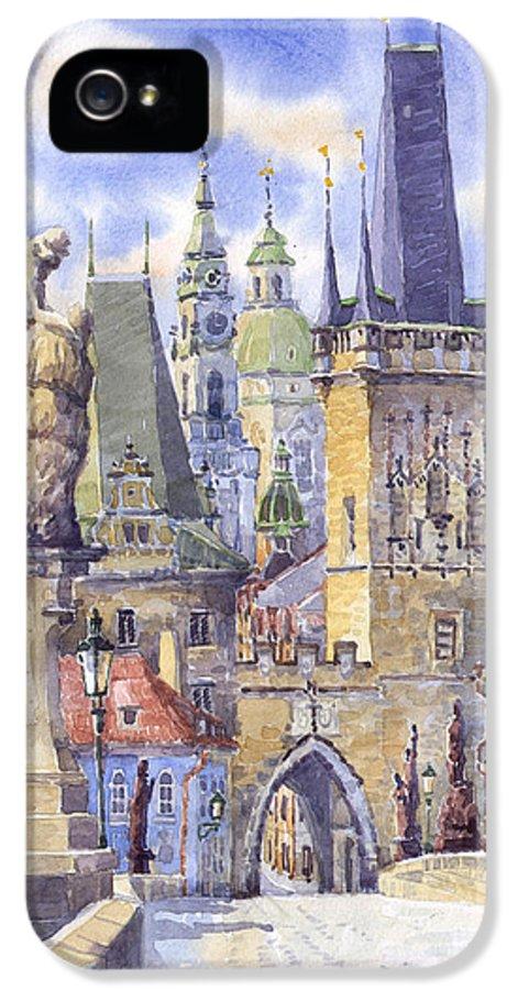 Watercolour IPhone 5 Case featuring the painting Prague Charles Bridge by Yuriy Shevchuk