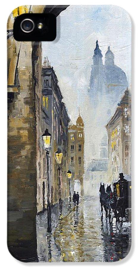 Prague IPhone 5 Case featuring the painting Prague Old Street 01 by Yuriy Shevchuk