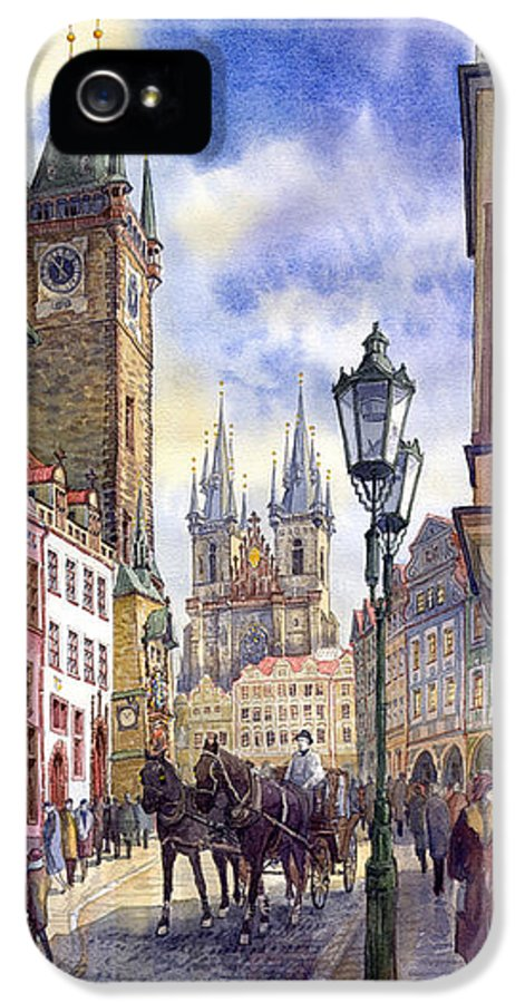 Watercolour IPhone 5 Case featuring the painting Prague Old Town Square 01 by Yuriy Shevchuk