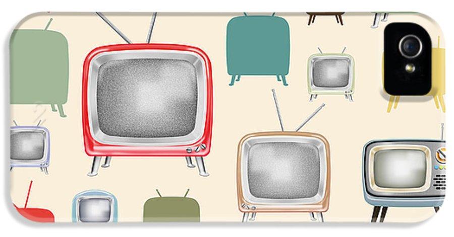 Analog IPhone 5 Case featuring the painting retro TV pattern by Setsiri Silapasuwanchai