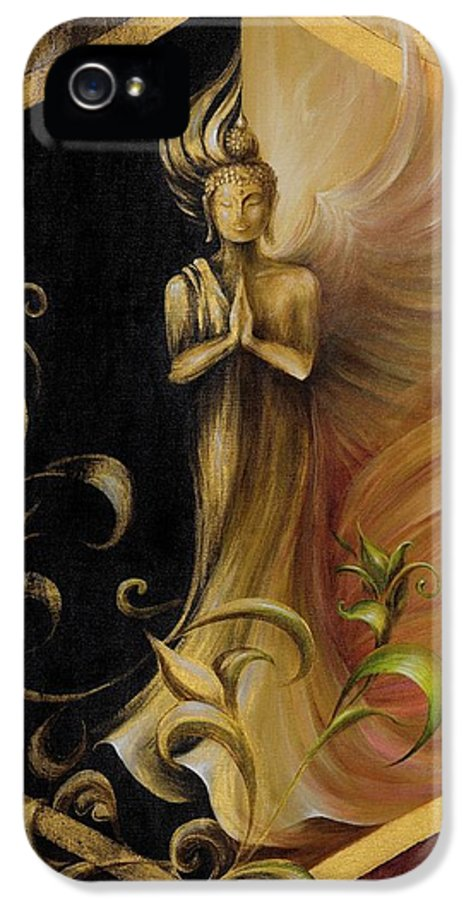 Kwan Yin IPhone 5 Case featuring the painting Revelation And Enlightenment by Dina Dargo