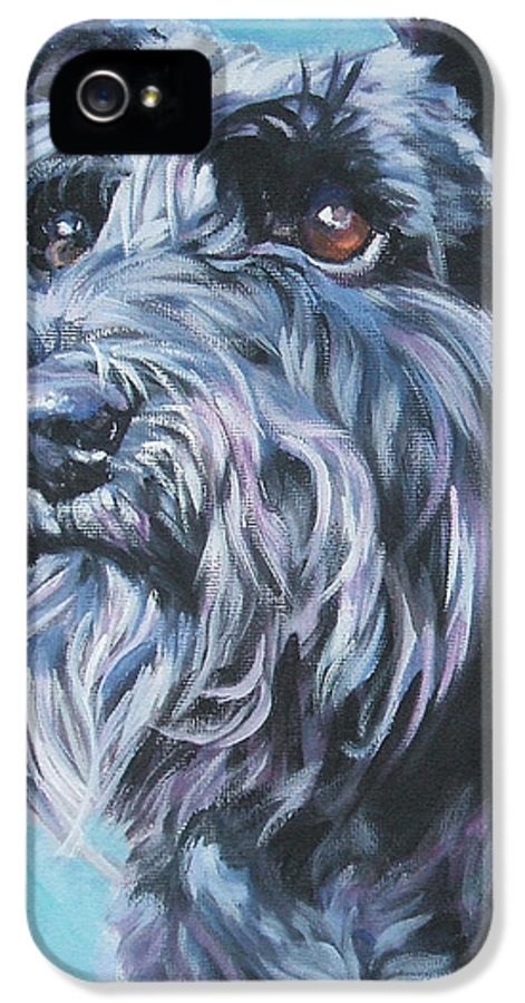 Schnauzer IPhone 5 Case featuring the painting Schnauzer by Lee Ann Shepard
