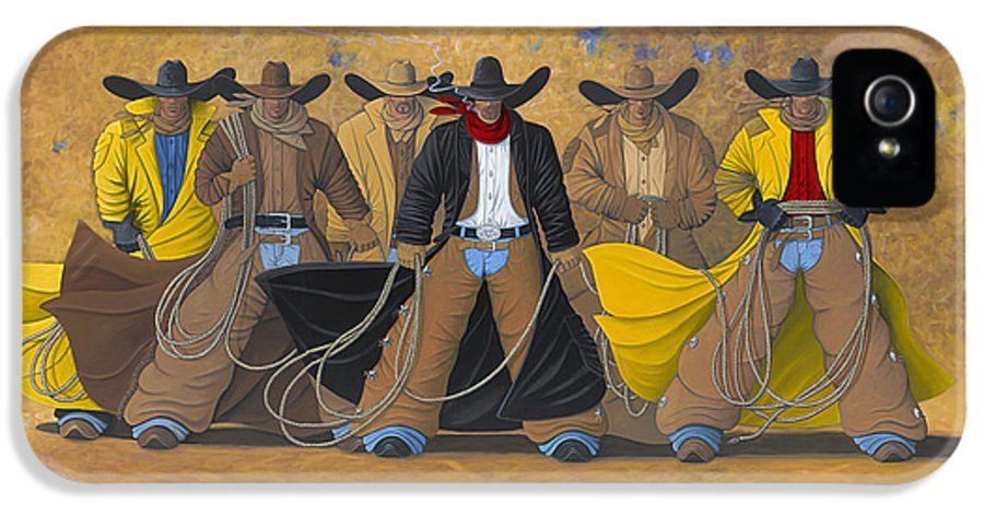 Large Cowboy Painting Of Six Cowboys. IPhone 5 Case featuring the painting The Posse by Lance Headlee