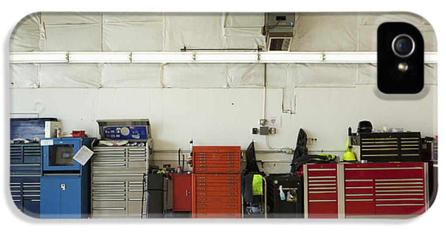 Auto IPhone 5 Case featuring the photograph Tool Chests In An Automobile Repair Shop by Don Mason