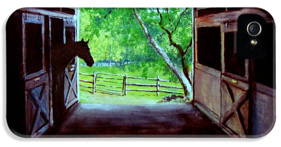 Horse IPhone 5 Case featuring the painting Water's Edge Farm by Jack Skinner