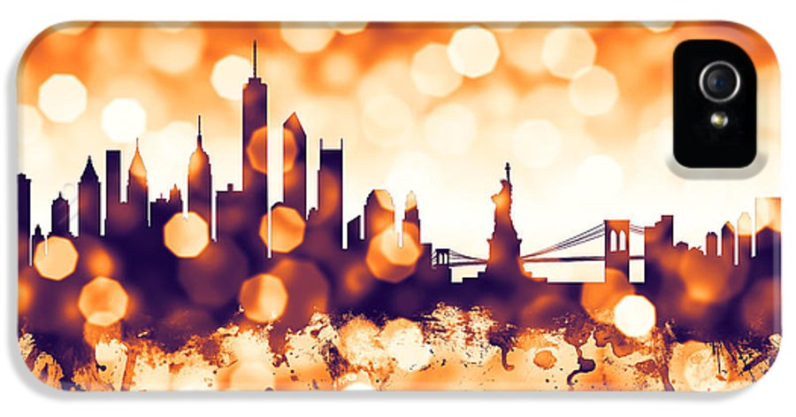 United States IPhone 5 Case featuring the digital art New York Skyline by Michael Tompsett