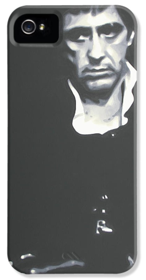 Scarface IPhone 5 Case featuring the painting Scarface by Luis Ludzska