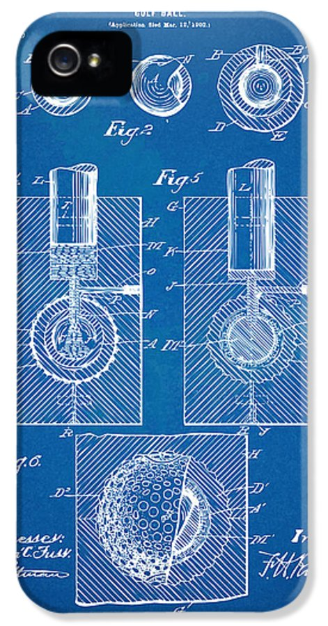 Golf IPhone 5 / 5s Case featuring the digital art 1902 Golf Ball Patent Artwork - Blueprint by Nikki Marie Smith