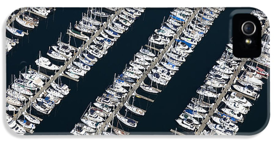 Aerial IPhone 5 Case featuring the photograph Boats In A Marina by Don Mason